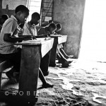 Classroom conditions in rural Uganda.