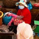 A market vendor scaling fish.